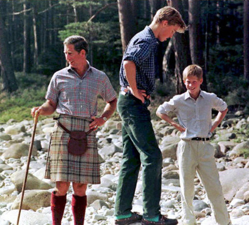 1997 Charles, William and Harry in Balmoral Estate. August 1997, pictured just 15 days before Diana's death.