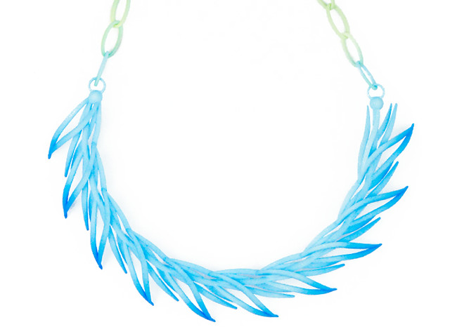Reeds necklace in blue/green