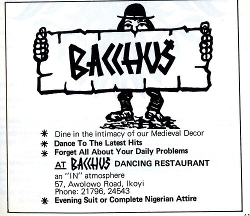 Guide to Lagos 1975 021 bacchus dancing restaurant