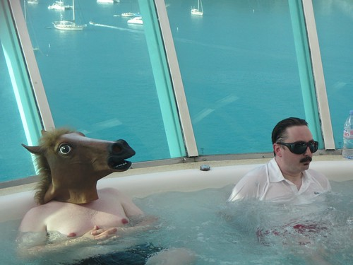 John Hodgman joined by a horse during his hot tub office hours