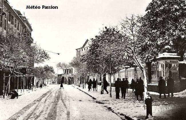 neige dans les rue d'Ajaccio en Corse en février 1929 météopassion