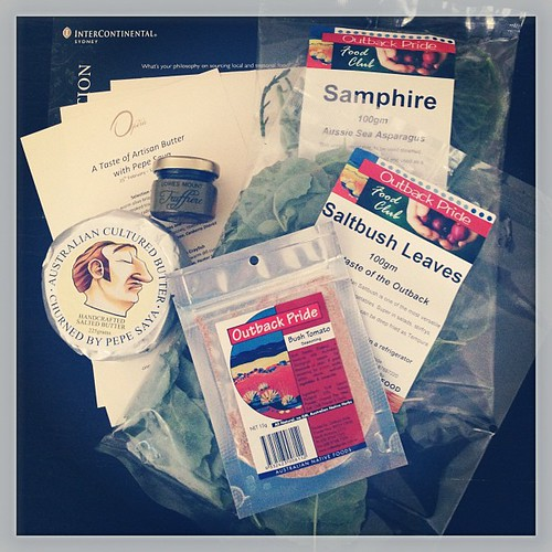 Just a peek into the @interconsydney #tastelocal goodie bag - very excited to try the @outbackpride bush tucker!