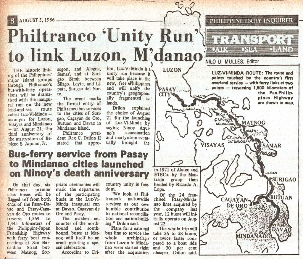 1986 0805 Philtranco 'Unity Run' to link Luzon, M'danao