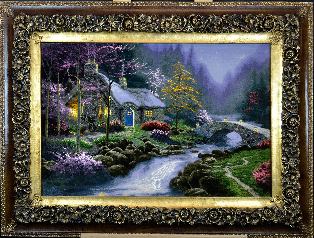 Tableau-Hand-Made-Persian-Thomas-Kinkade-night-house