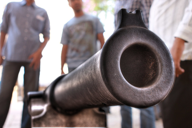 A cannon pointed at the main gate of Golconda Fort, Hyderabad, India