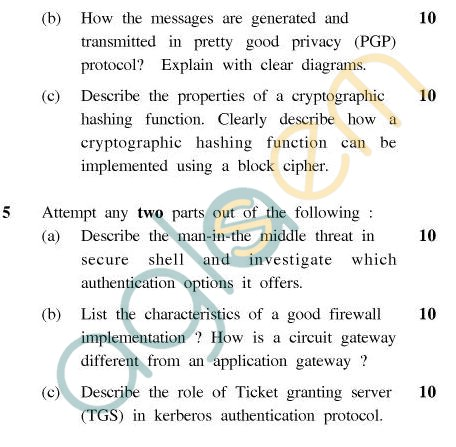 UPTU MCA Question Papers - MCA-404(2) - Cryptography & Networks Security
