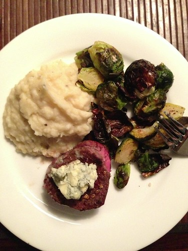 Pan Seared Beef Tenderloin with Roasted Brussels Sprouts and Foie Gras Mashed Potatoes