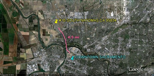 South Natomas in relation to Sacramento (via Google Earth)