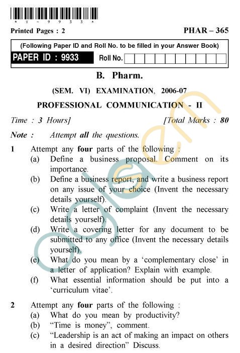 UPTU B.Tech Question Papers - PHAR-365 - Professional Communication-II