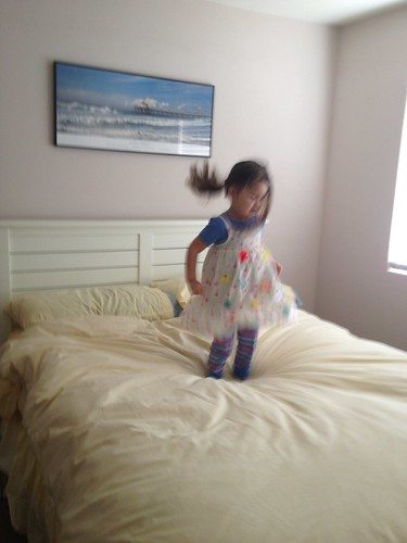 jumping on the guest room bed for the last time