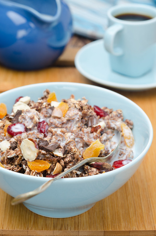 Chocolate granola with nuts and dried fruit and yogurt _
