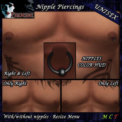P Rings Nipple Piercings ~Unisex~ Black