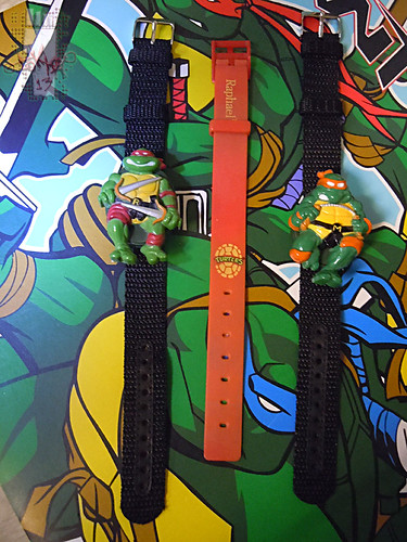 "HOPE INDUSTRIES ""TEENAGE MUTANT NINJA TURTLES"" :: MICHAELANGELO & RAPHAEL Digital Watches ii (( 1988 ))"