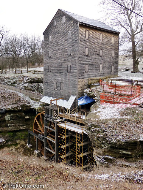 The water wheel and mill seen from the rear