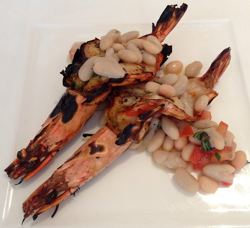Gamberoni alla griglia - Grilled garlic prawn & lemon chili flakes