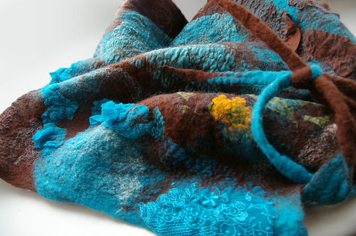 Wool nuno felted triangle scarf by Jane Bo