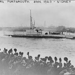 Feb. 28, 1928: the first HMAS OXLEY receives a rousing cheer departing Portsmouth for Australia - George B. Free.