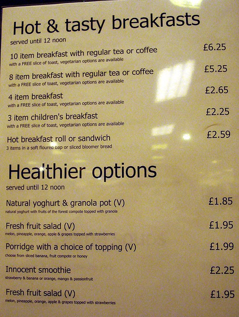 Debenhams Cafe Menu Sheffield