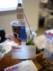 Lamp/business card holder in use