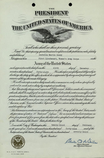 Certificate appointing Isabella Henry First Lieutenant in the Women's Army Corps, 1948