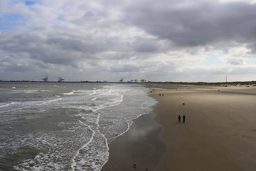 view from the pier in Blankenberge on the beach