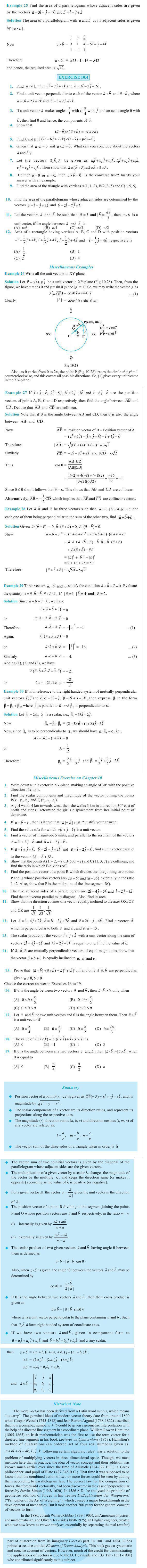 NCERT Class XII Maths Chapter 10 - Vector Algebra