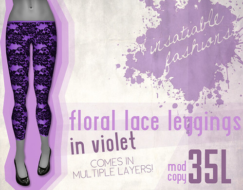 [IF] Lazy Sunday Item: Floral Lace Leggings in Violet