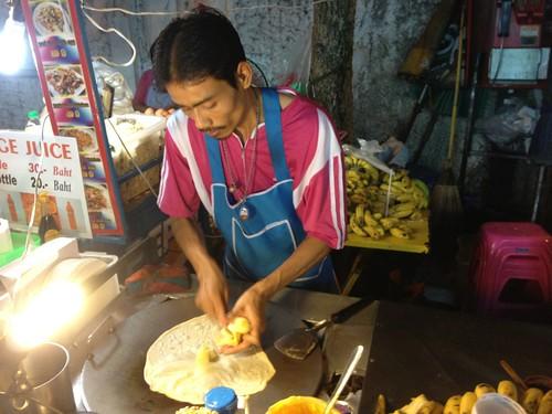 """making of a banana """"pancake"""""""