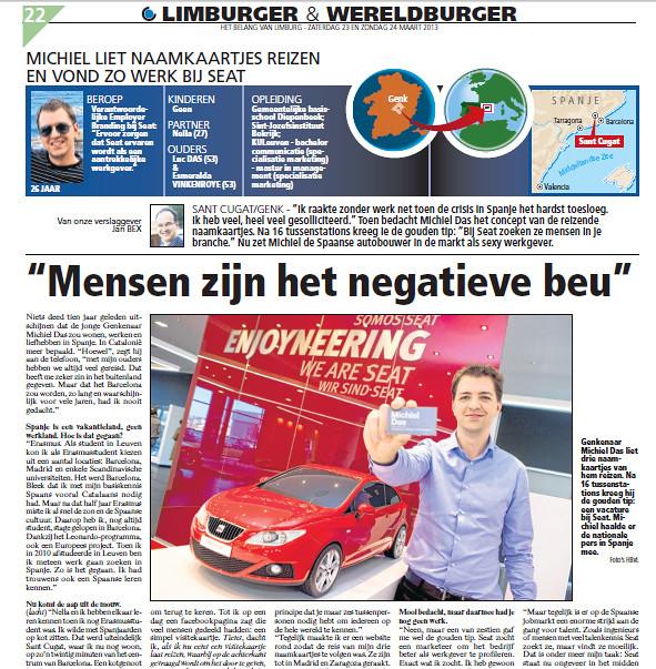 Artikel in Het Belang van Limburg - Het Belang van Limburg (24.03.2013) - holandés