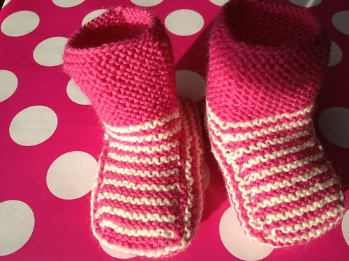 Booties all ready to go by taitaiknits