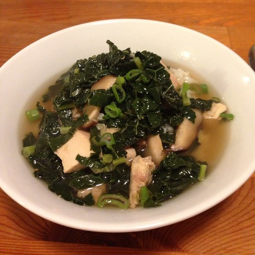 Chicken soup with shiitakes and kale