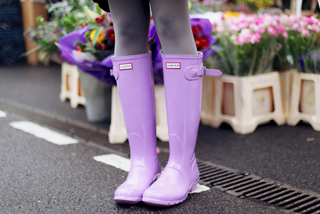 Hunter Original Gloss wellies in Wisteria lilac purple