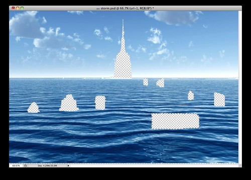 Ocean image with Building Cutouts (Storm)