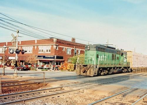 Westbound light Burlington Northern freight train.  Riverside Illinois.  November 1989. by Eddie from Chicago