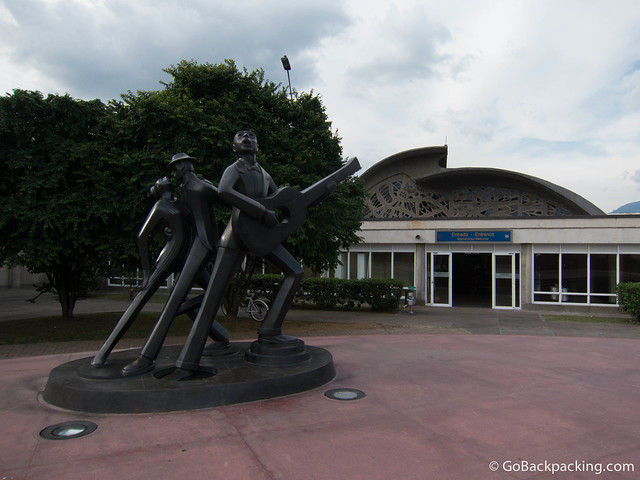 A tribute to Carlos Gardel, famous tango singer, stands outside one of the entrances to Olaya Herrera Airport