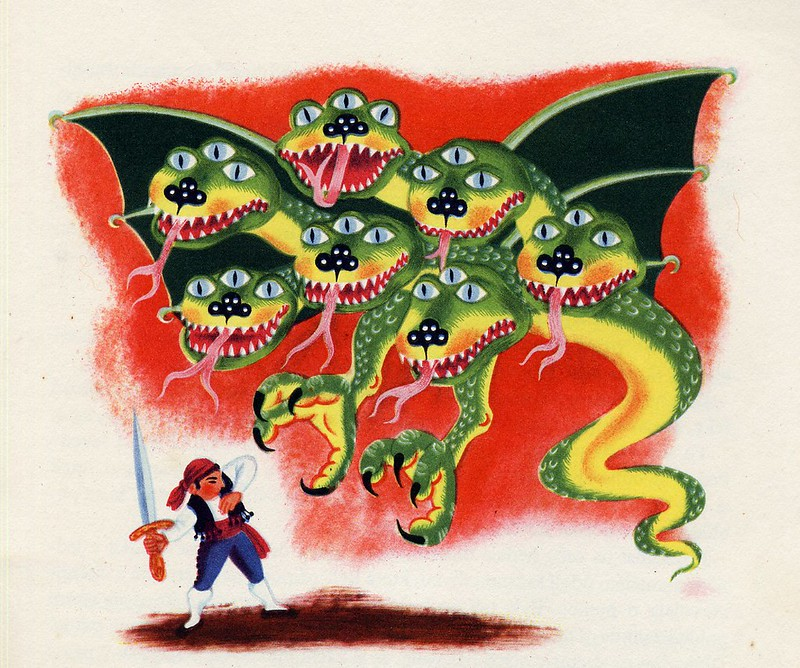 "Helena Zmatlíková - Illustration for Vitezslav Kocourek's ""The Tale Around The World"" Prague, 1957 (1)"
