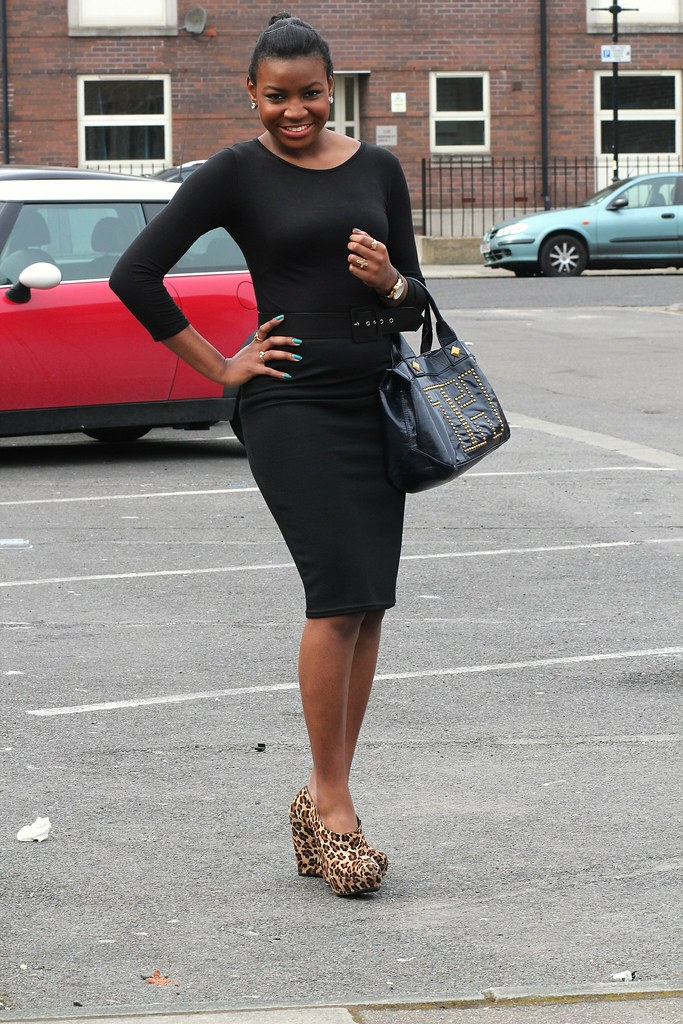 Leopard Print Shoes, Black top, black skirt, belt & black handbag