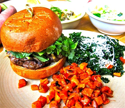 Bison Burger With Kale And Sweet Potatoes Photo Gallery