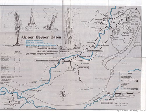 Old trail map of the Upper Geyser Basin, Yellowstone National Park, Wyoming