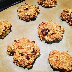 I baked! I never bake! Granted there were only 3 ingredients, but I did it! #vegan oatmeal, banana, raisin biscuits. Next time I\'m adding chocolate protein powder, PB2 & chocolate chips instead of raisins! #vegan #whatveganseat
