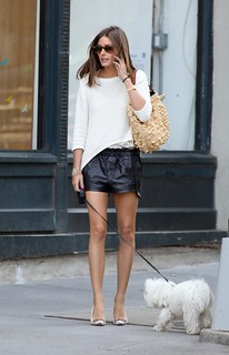 Olivia Palermo Leather Shorts Celebrity Style Women's Fashion