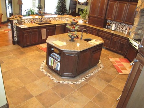 Porcelain tile with border designs