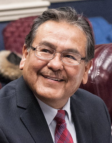 Navajo Technical College President Elmer Guy, Crownpoint, NM, introduces himself at the beginning of the USDA and American Indian Higher Education Consortium Leadership Group Winter Meeting, at the USDA Whitten Building, Williamsburg Room, in Washington D.C.