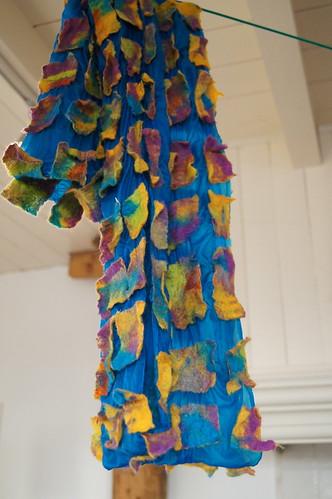 sjaal wol zijde, blokjes techniek by ViltAtelier BodyFlower