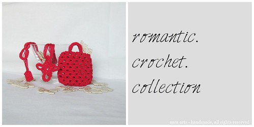 Romantic crochet necklace with case - red