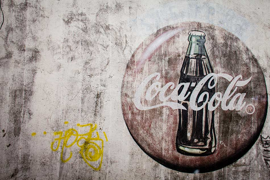 Photo and Desktop: Weathered Coke Ad, Granada Nicaragua