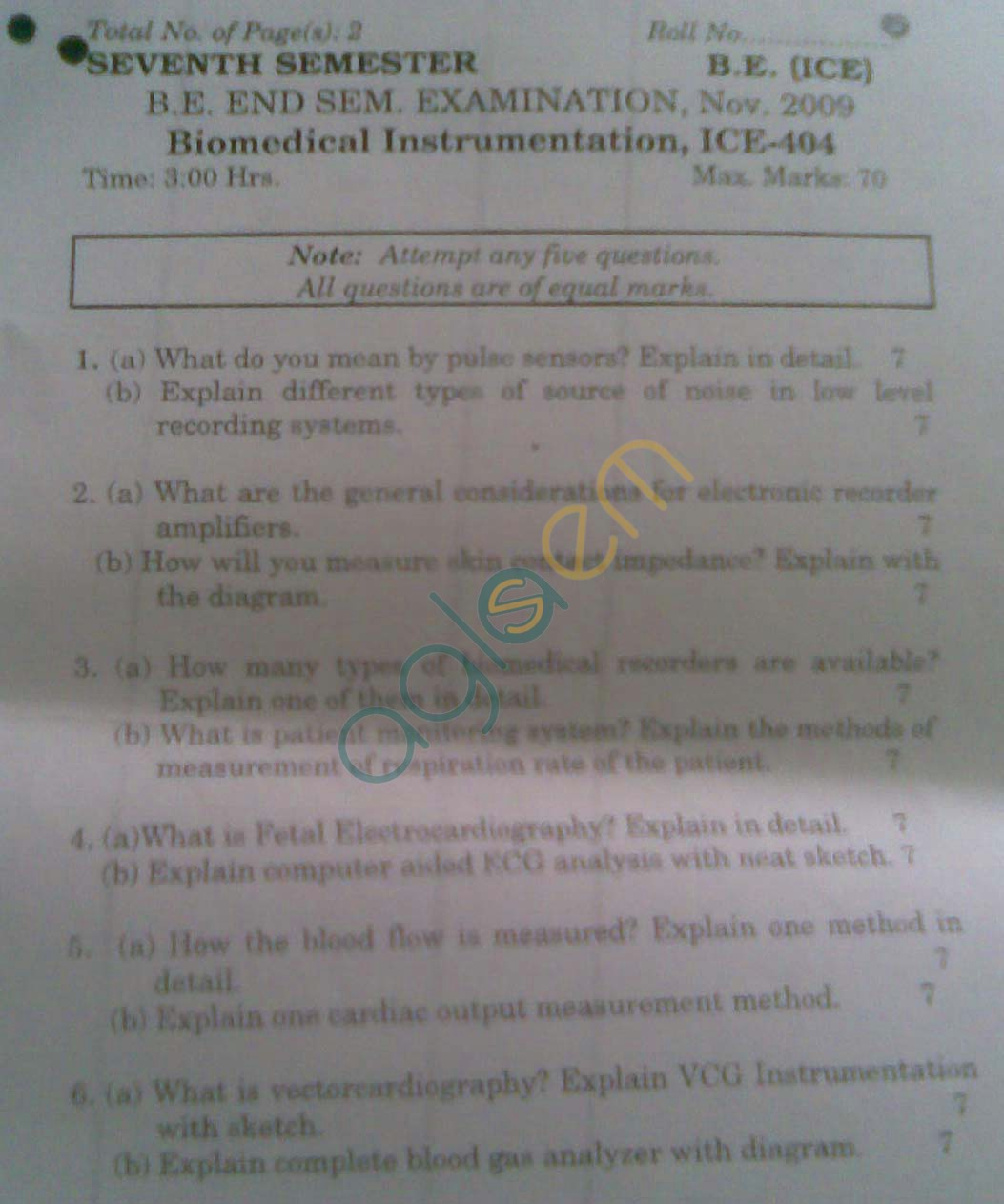 NSIT: Question Papers 2009 – 7 Semester - End Sem - ICE-404