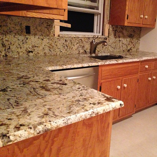 Antiqued Marble Countertops: Antique Treasure Granite Countertops With Full Backsplash.…
