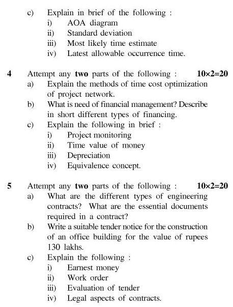 UPTU: B.Tech Question Papers - TCE-604-Estimation ...