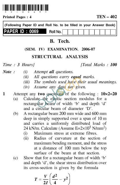UPTU B.Tech Question Papers - TEN-402-Structural Analysis